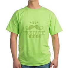 5¢ Mustache Rides (Vintage) Green T-Shirt
