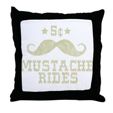 5¢ Mustache Rides (Vintage) Throw Pillow