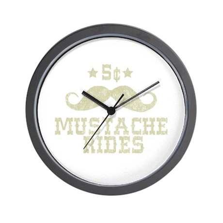 5 Mustache Rides (Vintage) Wall Clock