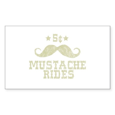 5¢ Mustache Rides (Vintage) Rectangle Sticker