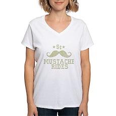 5¢ Mustache Rides (Vintage) Womens V-Neck T-Shirt
