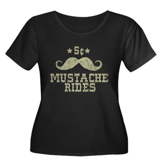 5¢ Mustache Rides (Vintage) Womens Plus Size Scoo