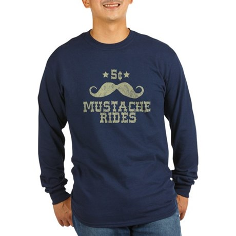 5¢ Mustache Rides (Vintage) Long Sleeve Dark T-Shi