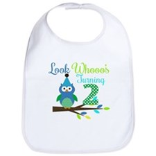Second Birthday Boy Owl Image Bib