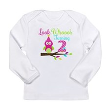 Look Whooos Turning Two Long Sleeve T-Shirt
