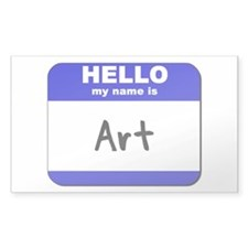hello my name is art Rectangle Decal