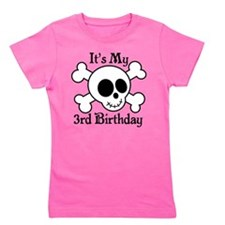 3rd Birthday Pirate Skull Girl's Tee