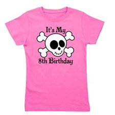 8th Birthday Pirate Skull Girl's Tee