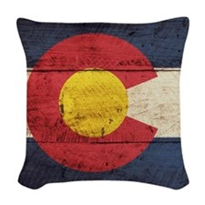 Wooden Colorado Flag3 Woven Throw Pillow