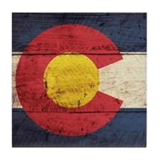 Wooden Colorado Flag3 Tile Coaster