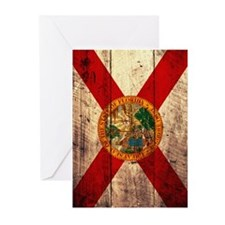 Wooden Florida Flag2 Greeting Cards