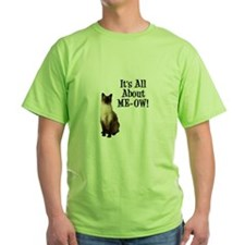 ME-OW Siamese Cat Green T-Shirt