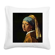 The Girl with a Pearl Earring Square Canvas Pillow