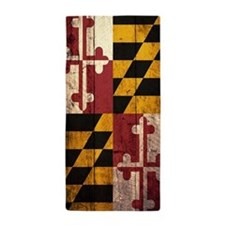Wooden Maryland Flag1 Beach Towel