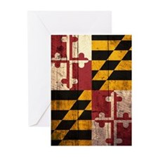 Wooden Maryland Flag2 Greeting Cards