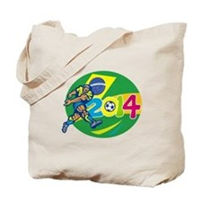 Brazil 2014 Soccer Football Player Retro Tote Bag