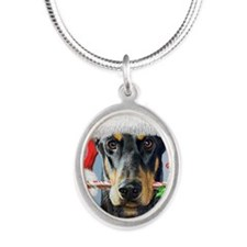 Doberman Christmas Silver Oval Necklace