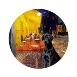 Cafe & Black Lab Ornament (Round)