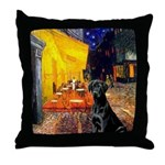 Cafe & Black Lab Throw Pillow
