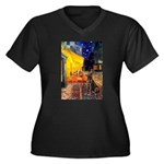 Cafe / Choc. Lab #11 Women's Plus Size V-Neck Dark