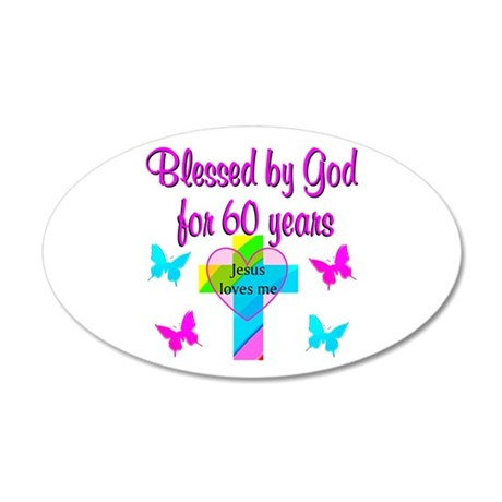 GOD LOVING 60TH 35x21 Oval Wall Decal