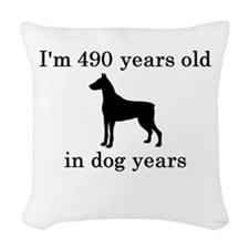 70 birthday dog years doberman Woven Throw Pillow