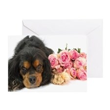 Black Cavalier King Charles  With Ro Greeting Card