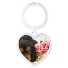 Black Cavalier King Charles  With R Heart Keychain