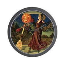 Vintage Halloween Dancing Witch Wall Clock