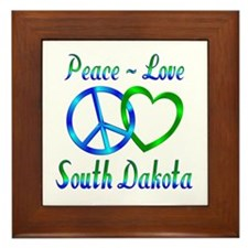 Peace Love South Dakota Framed Tile