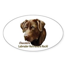 Chocolate Labs Rock Oval Decal