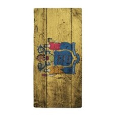 Wooden New Jersey Flag1 Beach Towel