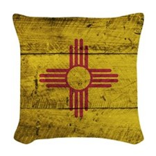 Wooden New Mexico Flag3 Woven Throw Pillow