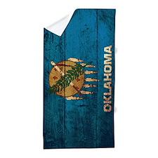 Wooden Oklahoma Flag1 Beach Towel