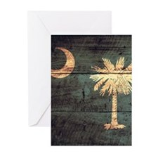 Wooden South Carolina Flag2 Greeting Cards