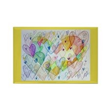 Community Hearts Color Rectangle Magnet