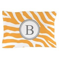 Orange Grey Zebra Monogram Pillow Case