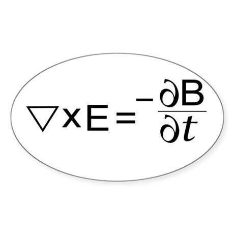 Faraday's Law of Induction Oval Sticker