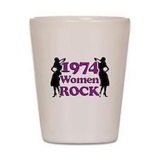 40th Birthday Gifts, 1974 Women Rock Shot Glass