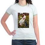 Windflowers & Black Lab Jr. Ringer T-Shirt