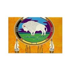 White Buffalo Rectangle Magnet