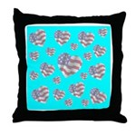 Patriotic Hearts Galore Throw Pillow
