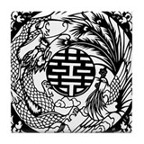 Chinese Dragon & Phoenix Symb Tile Coaster