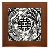 Chinese Dragon & Phoenix Symb Framed Tile