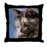 Longhair tortoise shell cat painting Throw Pillow