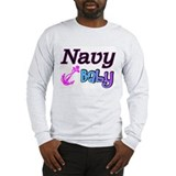 Navy Baby pink anchor Long Sleeve T-Shirt