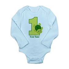 Personalized Turtle 1st Birthday Long Sleeve Infan