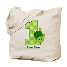 Personalized Turtle 1st Birthday Tote Bag