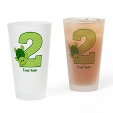 Personalized Turtle 2nd Birthday Drinking Glass