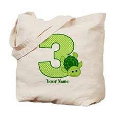Personalized Turtle 3rd Birthday Tote Bag